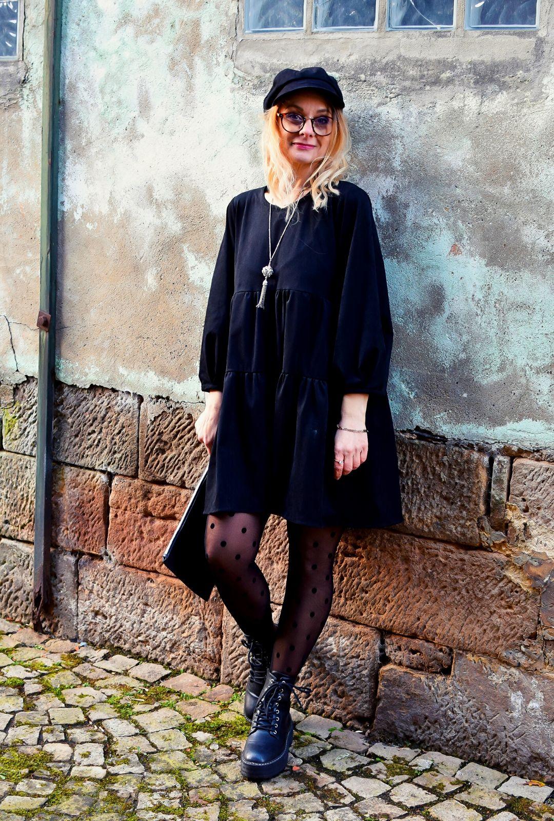 Outfit-Lederkleid-Schwarz