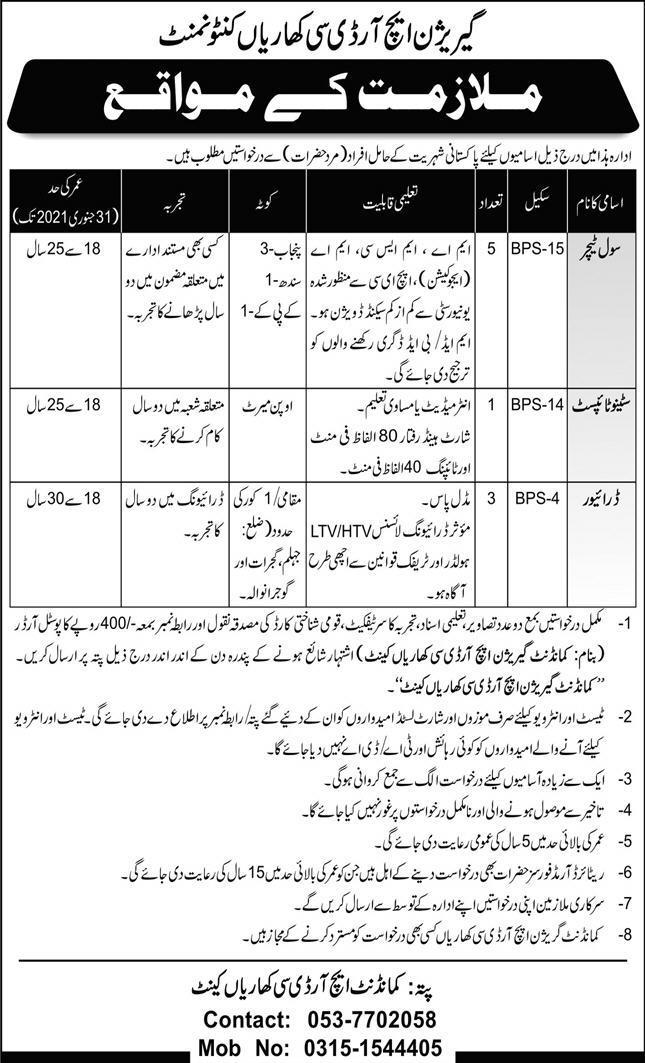 Latest Garrison HRDC Kharian Cantt Pak Army Jobs December 2020