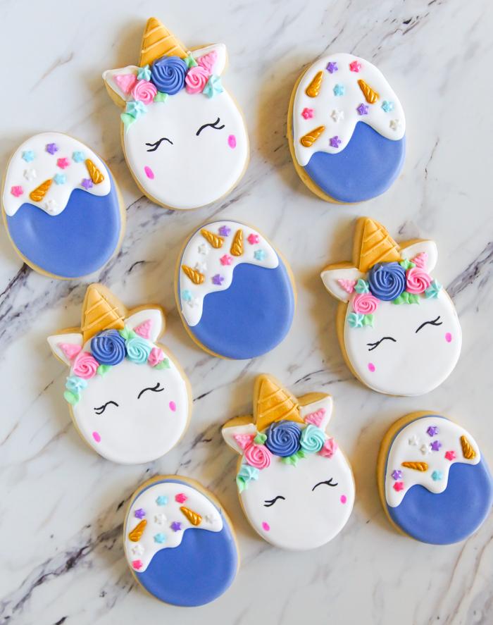 unicorn easter egg cookies
