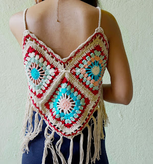 free crochet ladies boho top, free crochet granny square top, free crochet beach top