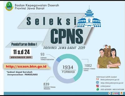 Informasi Seleksi Penerimaan CPNS Pemerintah Provinsi Jawa Barat Tahun 2019