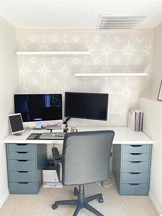desk area with floating shelves