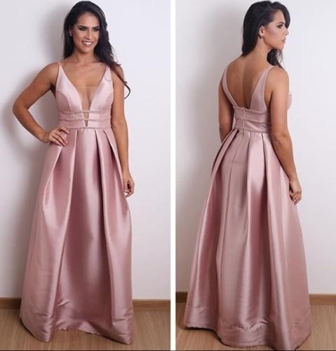 vestido de festa rosa longo saia ampla