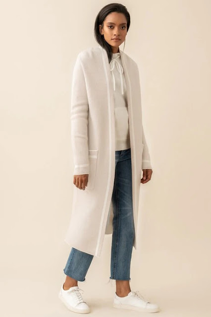 Model wearing the Deni Knit Coatigan in Quartz