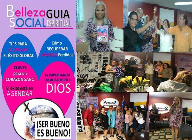 """Bautizada y presentada revista """"Belleza Social Guía Espiritual"""" en el Arepazo 2 Doral Florida. USA."""