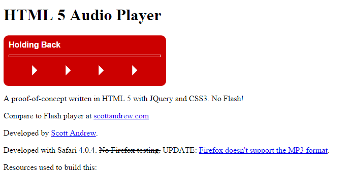 HTML 5 Audio Player