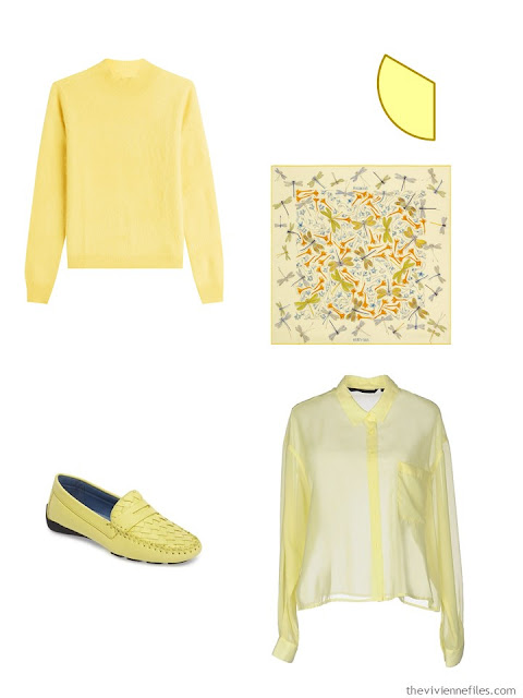 wardrobe accents of soft butter yellow - sweater, scarf, loafers and shirt