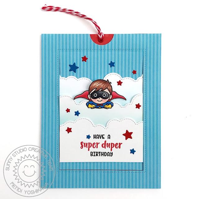 Sunny Studio Stamps Super Duper Flying Superhero Interactive Pop-up Birthday Card (using Sliding Window Dies)