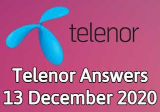 13 December Telenor Quiz | Telenor Answers 13 December 2020