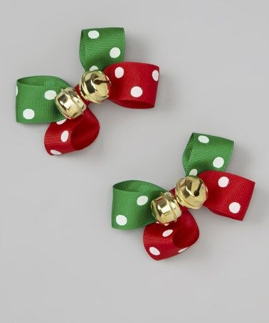 Red & green bows with jingle bells
