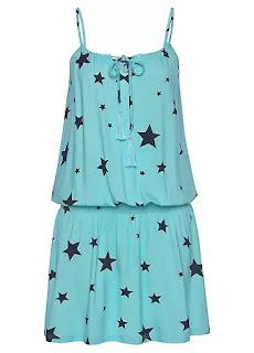 Navy Blur Star Printed Beach time dress design