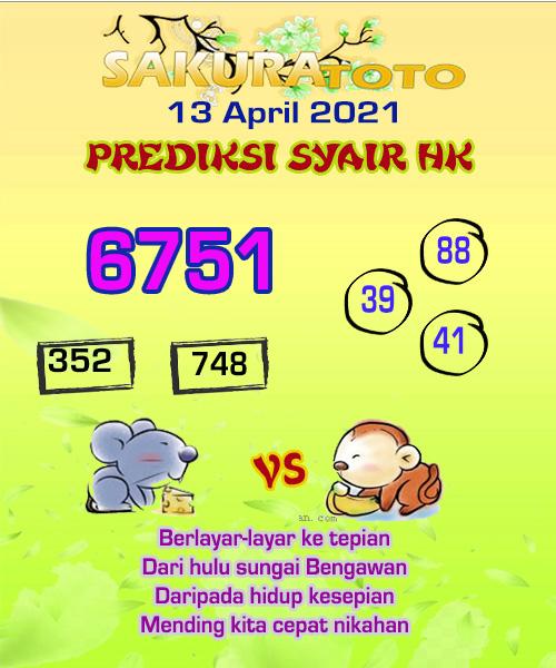 Syair HK Selasa 13 April 2021 -