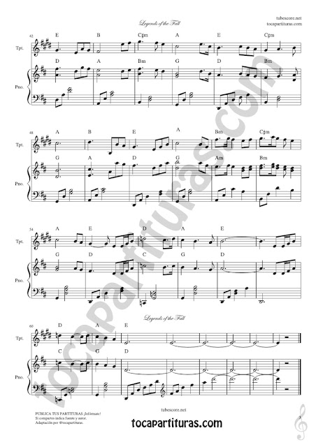 3 Leyendas de Pasión Partitura de Trompeta y Fliscorno en Si bemol Legends of the Fall Sheet Music for Trumpet and Flugelhorn