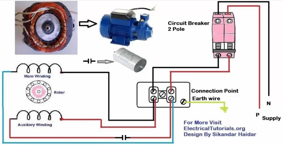 Single Phase Motor Wiring And Controlling Using Circuit Breaker Electrical Tutorials Urdu Hindi