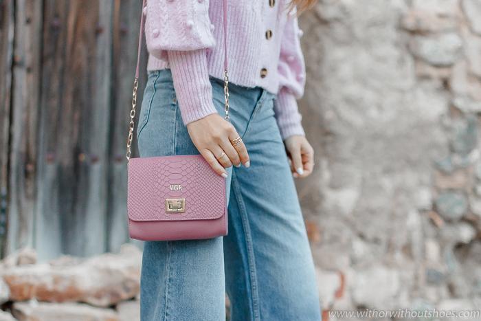 Bolso Bandolera rosa personalizado con iniciales Gigi New York