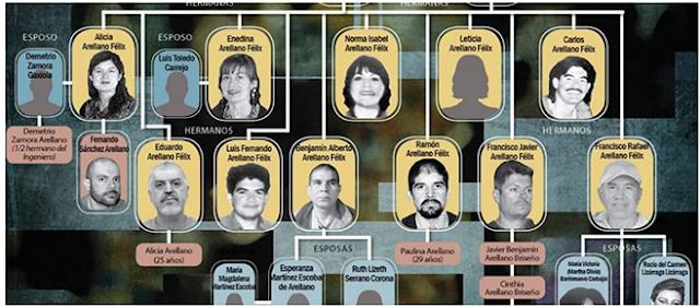 El árbol genealógico, así se divide y compone la Familia de Los Arellano Félix que conforman El CAF