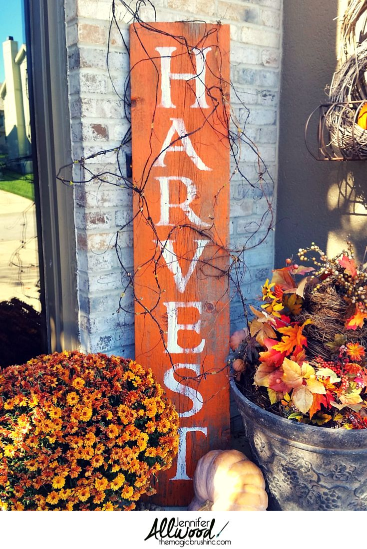 Harvest Sign On Barnwood For Fall Front Porch Decor: X-tremely V: Fall Is On Its Way