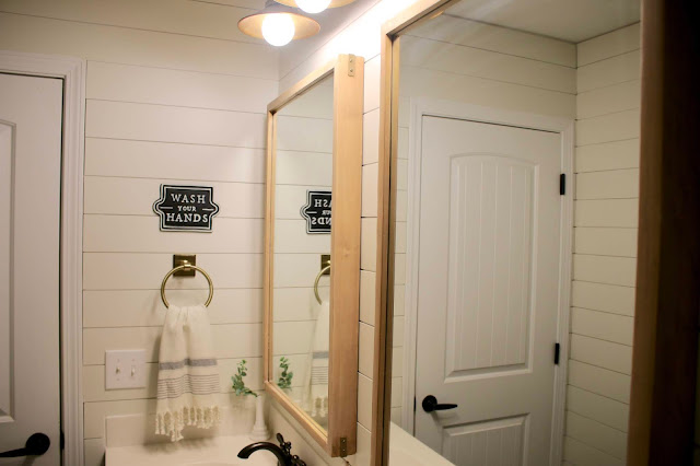 Staining Pine Mirrors for a basic bathroom renovation on a budget