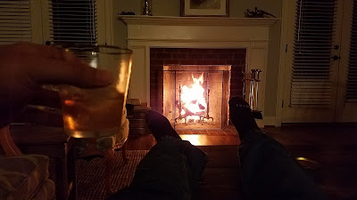 Fireplace, bourbon, and my feet up