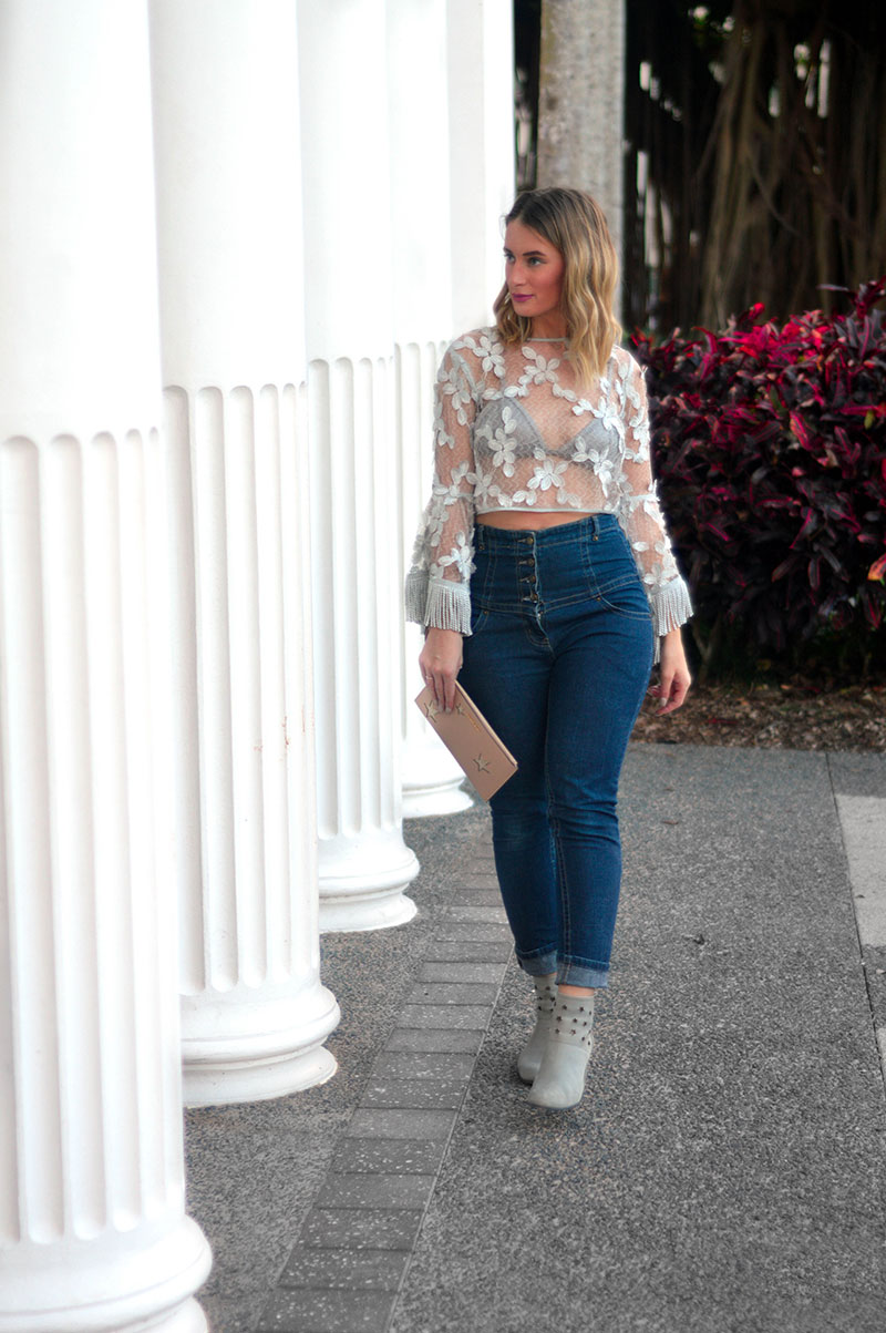 how to style a statement top alice mccall flare sleeve fringe sheer top with jeans