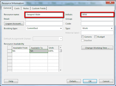 Adding Resources in Microsoft Project