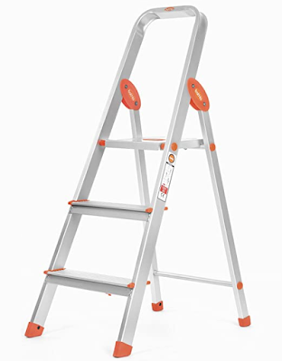 Bathla Advance 3-Step Foldable Aluminium Ladder with Sure-Hinge Technology and Unrivalled Stability While the Ladder is in Use