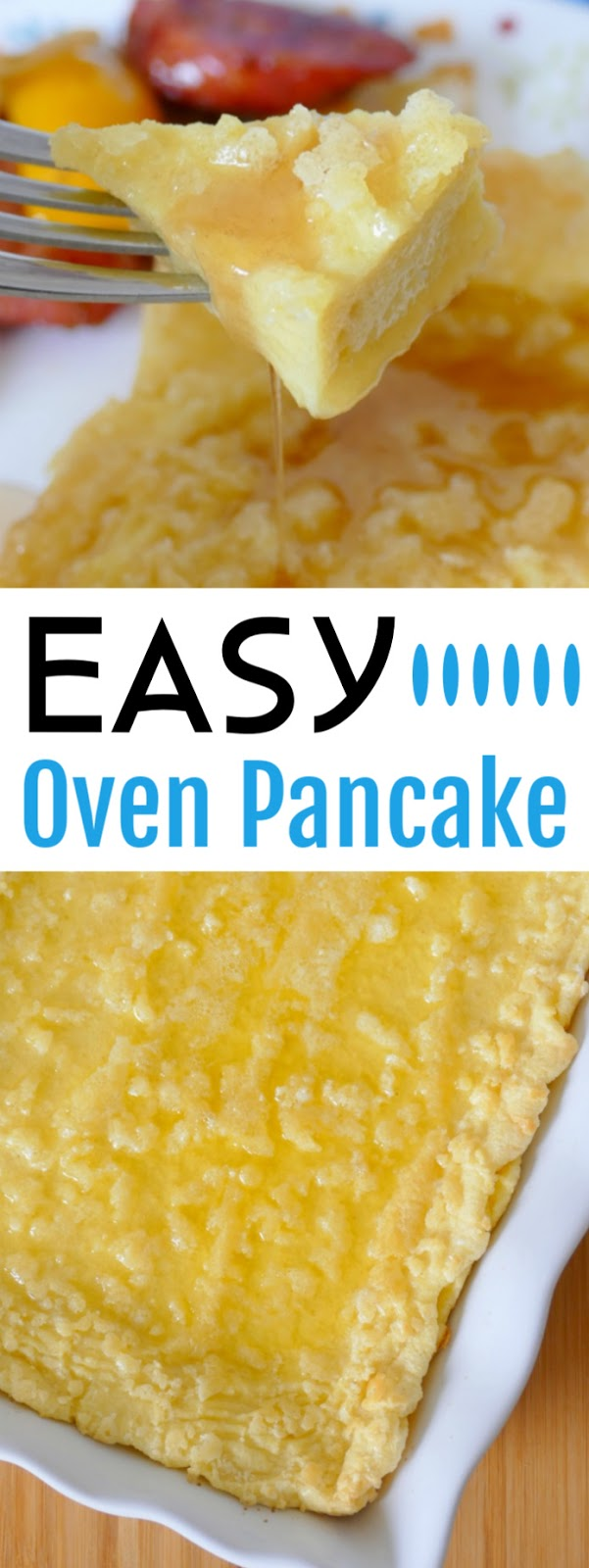 This simple to make and unique breakfast recipe uses basic fridge and pantry staples like flour, eggs, butter and milk and is super tasty! Top it with maple syrup, powdered sugar or fresh fruit to make it sweet! Serve with your breakfast favorites for a complete meal that will feed the whole family!
