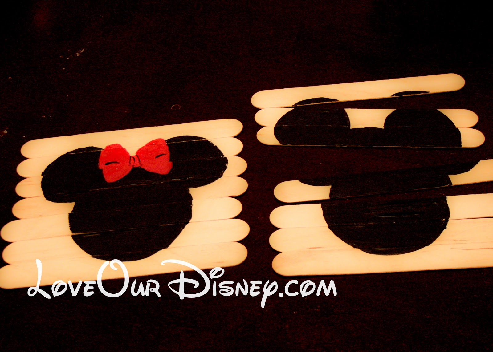 Craft Time- Minnie & Mickey Popsicle Stick Puzzles | This