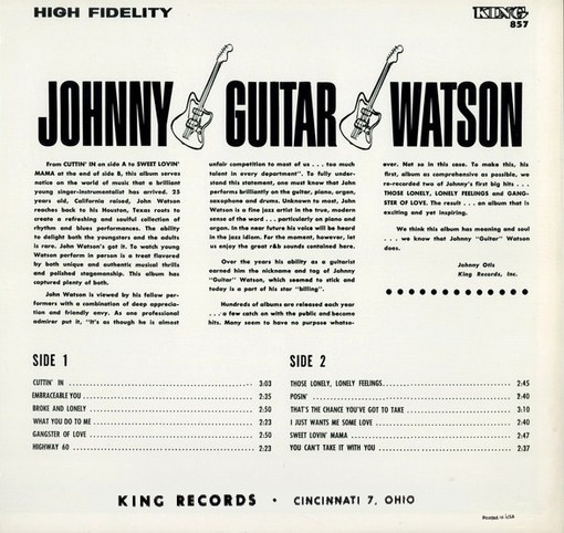 """Close to you (right on with the right on) Be Bop Wino: Johnny """"Guitar"""" Watson (King LP 857)"""