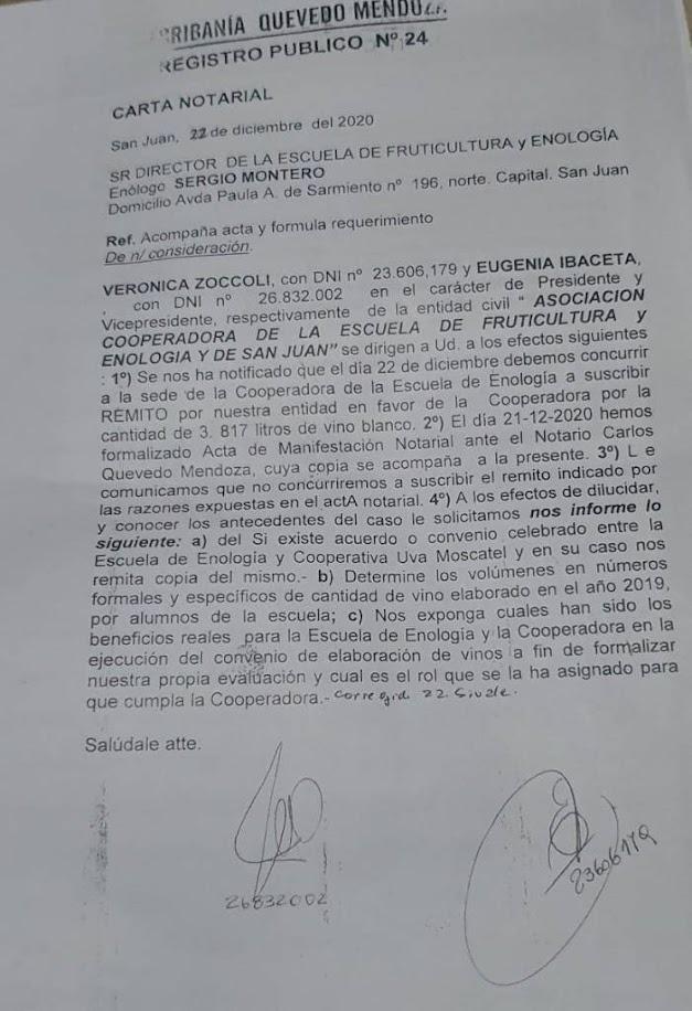 Carta notarial de cooperadora de Enología