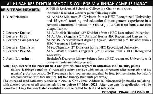 New Jobs in Pakistan Al Hijrah Residential School and College Ziarat Jobs 2021