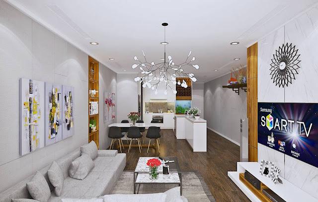 Mẫu thiết kế phòng khách thông với bếp tạo không gian rộng rãi cho cả căn hộ( Thiết kế căn 79,96m2)