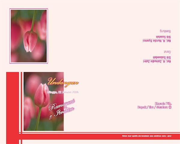 Desain Gratisan Undangan Pernikahan Motif Bunga Pink