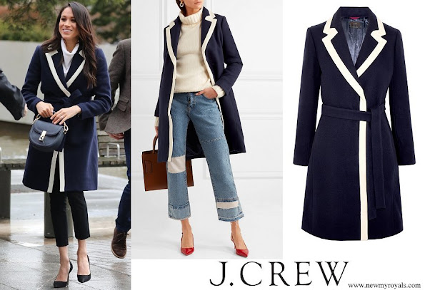 Meghan Markle wore J.Crew Two-tone wool-blend coat