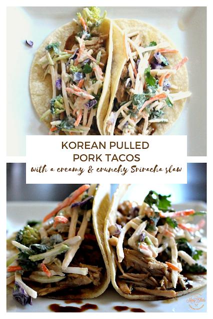 Slow cooker pulled pork with a creamy & crunchy sriracha slaw - Korean Pulled Pork Tacos #pulledpork #tacos #sriacha #slaw