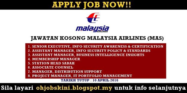 Jawatan Kosong Malaysia Airlines (MAS)
