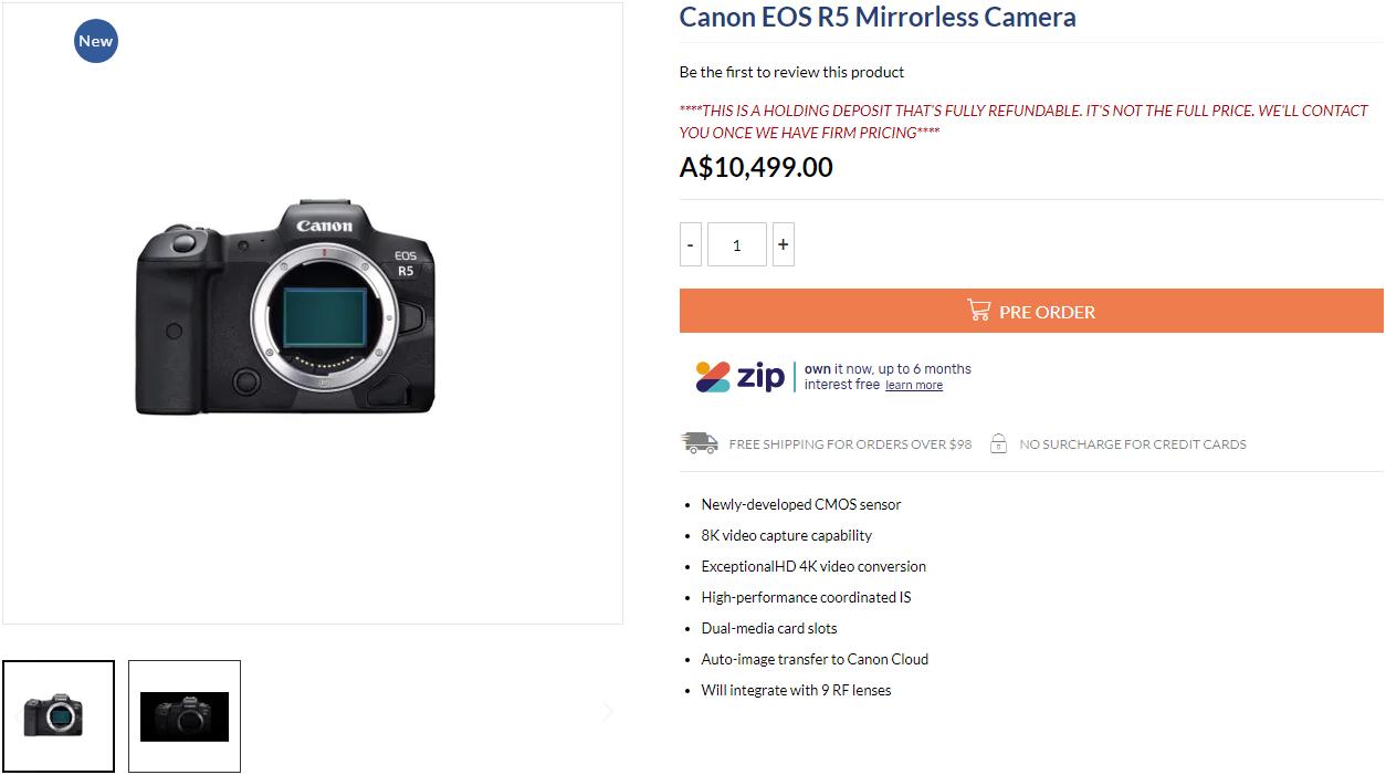 Страница товара Canon EOS R5 в онлайн-магазине