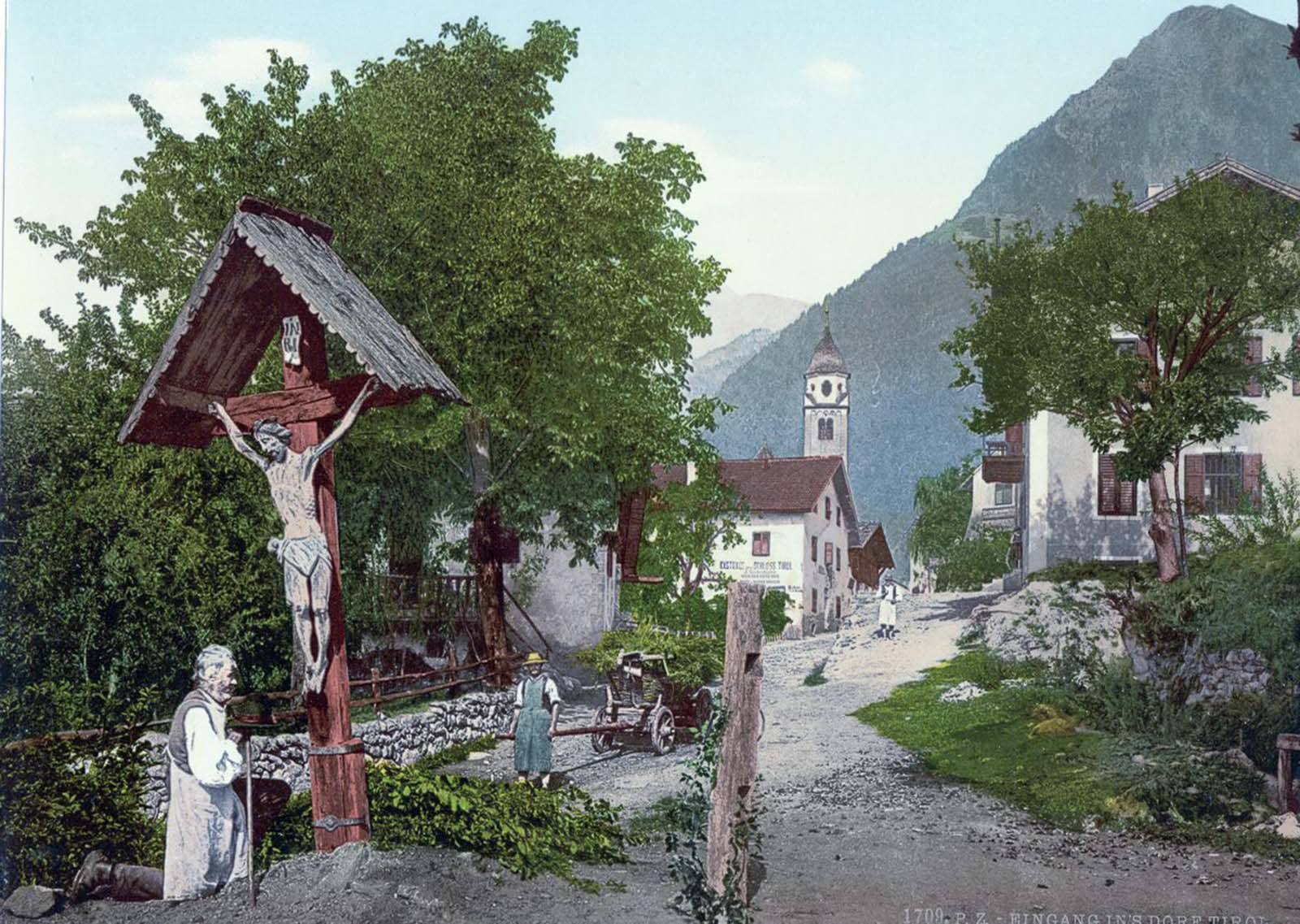 A village with crucifix.