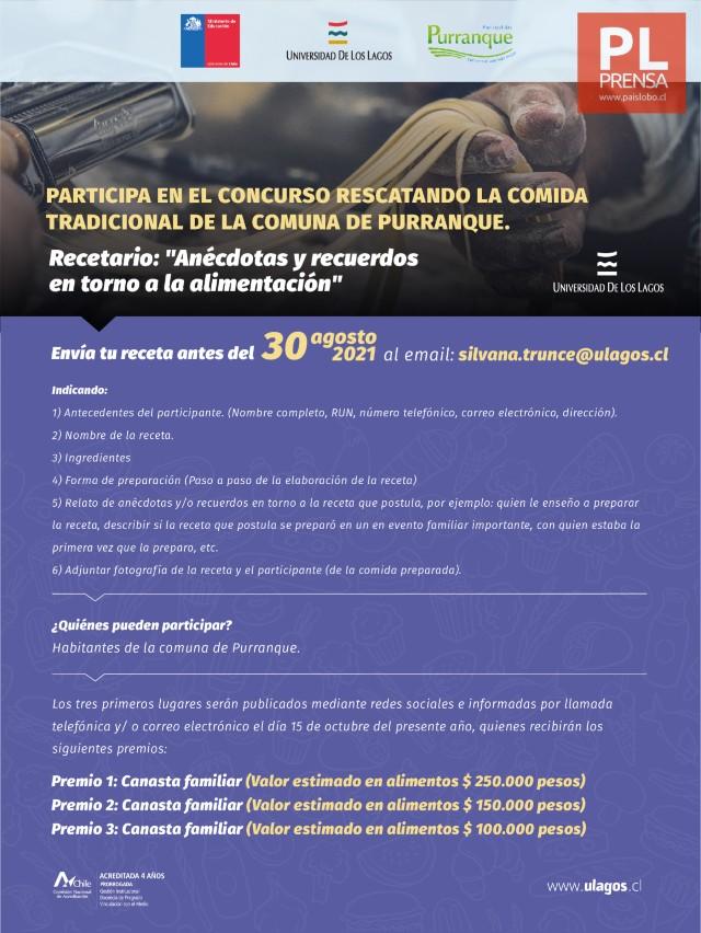 """Concurso: """"Rescatando la comida tradicional de la comuna de Purranque"""""""