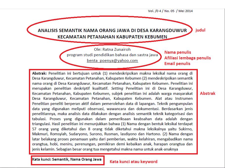 Dunya Jawa Tata Cara Penulisan Karya Tulis Ilmiah Struktur Artikel Ilmiah