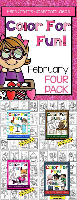 Fern Smith's Classroom Ideas Color For Fun February Four Pack at TeacherspayTeachers. TPT.
