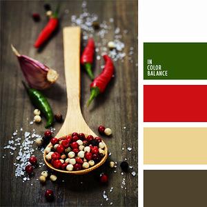 Плоды: орехи, пряности и специи - гармоничные палитры в 5 цветов