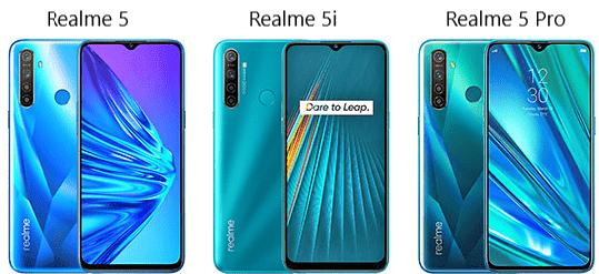 Perbedaan Realme 5, 5i dan 5 Pro