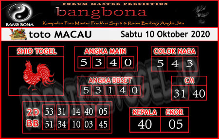 Prediksi Bangbona Toto Macau Sabtu 10 Oktober 2020