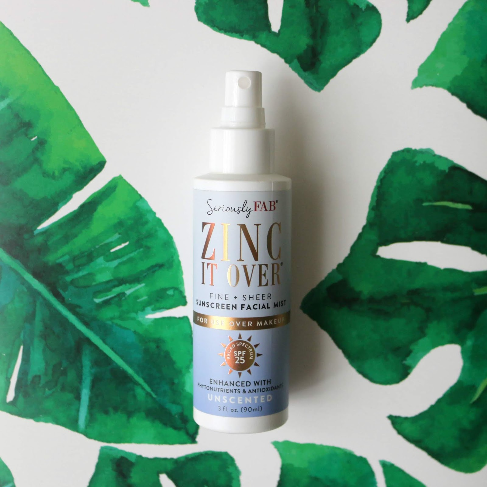 Seriously FAB Zinc It Over Sunscreen Facial Mist SPF 25 Unscented