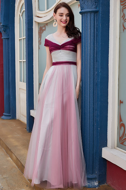 v cut prom dress with colorful color