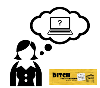 Image of person thinking with computer in speech bubble
