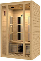 Full-length tempered glass door & front windows on Maxxus MX-J206-01 Seattle Carbon Far Infrared Sauna