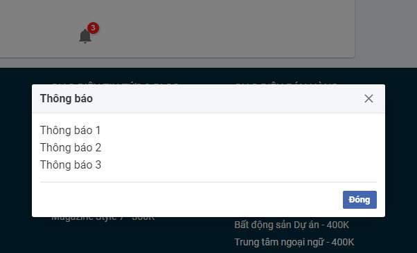 Cách tạo icon thông báo và widget thông báo với hiệu ứng modal popup