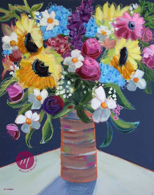 Mixed media floral painting by Pennsylvania artist Merrill Weber